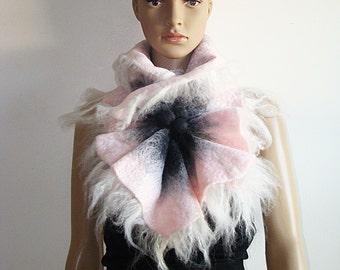 Multicolor Gray & Pink Felted Wool Scarf Neckpiece Collar. Felted Wrap scarf. Chunky scarf Shibori