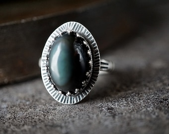 Obsidian Sterling Ring , Size 8.5 , Mexican Obsidian Ring , Green Flash Ring , Bohemian Jewelry