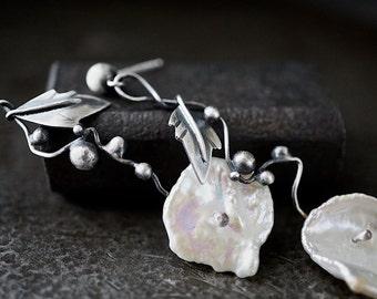 White Keishi Pearl Sterling Earrings , Flower Bloom Vines , Delicate Earrings , Botanical Wedding , Nature Jewelry