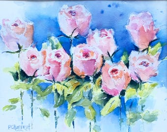 Pink Roses flowers bouquet original watercolor 9 x 12