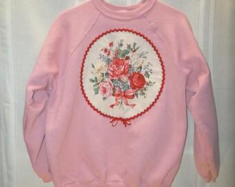 Pink Sweatshirt with Rose Applique