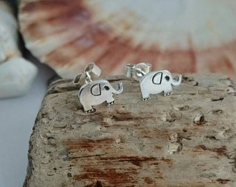 Sterling Silver Elephant Earrings - Silver Studs - Elephant Jewellery - Animal Earrings - Jungle Jewellery - Handmade in England