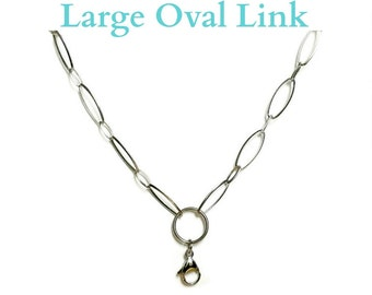 """Chain For Floating Charm Memory Locket, Large Flat Oval Link 30"""" Chain w/ Connector, Stainless Steel Chain for Floating Charm Memory Locket"""