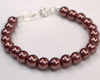 Brown Pearl Bracelet, Brown Bracelet, Pearl Stacking Bracelet, Brown Bead Strand Bracelet, Versatile Everyday Bracelet (B137)