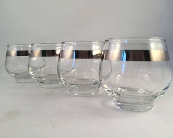 Set of 4 Libbey Rolly Polly Silver Rim Glasses