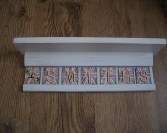 Shabby chic shelf with personalised letter tiles