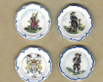 Quimper Faience Plates French Pottery Dishes Brittany Breton Wedding China - French Feve Feves Figurines Doll House Miniatures  UU10