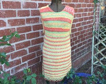 Crocheted Dress--70s Dress--1970s Crocheted Jumper--Handmade Dress--Handmade Jumper--Shift