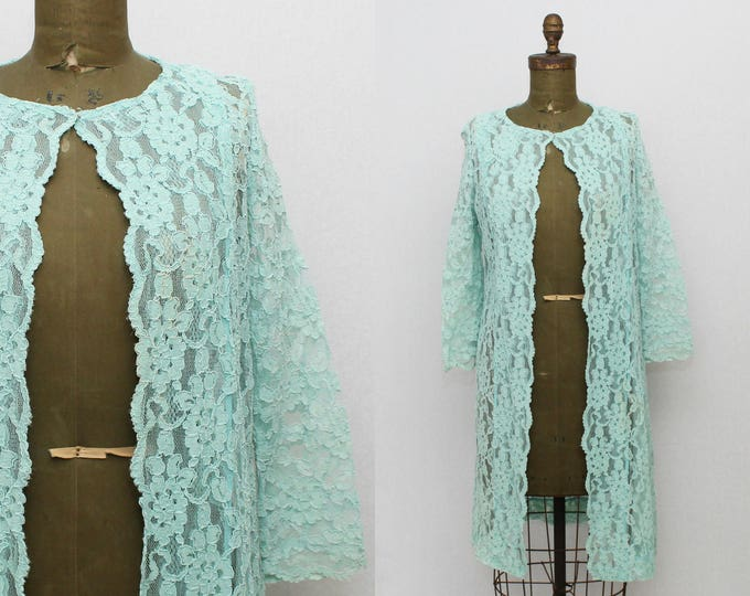 Turquoise Lace Duster Robe - Size Small Vintage 1960s Lace Jacket