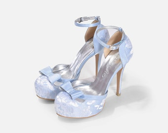 Donna Custom Made Baby Blue Lace Heels, Baby Blue Lace Strappy Heels, Something Blue Lace Bridal Heels, Lace Bridal Shoe with Bow.