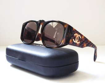 Chanel vintage sunglasses - Havana brown quilted
