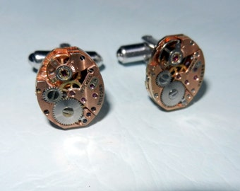 Steampunk Cufflinks, unique jewelled watch movement, hand made, Free Shipping