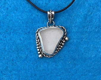 Clear Sea Glass Pendant #5
