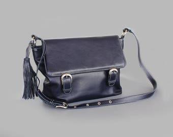 Sale 20% Oxford blue leather messenger bag,  Men's oxford bags , Blue laptop bag , Leather crossbody bag, Blue leather satchel