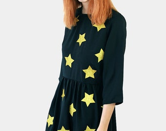 Gold Glitter Star Dress