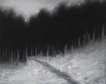 Title: Snowy Path 5x5 Oil on Birch wood