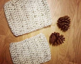 Set of Cowls, crochet cowls, mama and me scarves, dad and me scarves, matching scarf, Beige crochet cowl, other colors available, Christmas