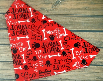 Slip on Fabric Bandana over the Dog Collar - Woof Woof, Bark, Grrr, Sniff Sniff