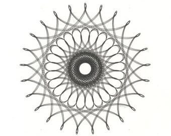 Original Ink Drawing, Original Abstract Geometric, Loops and Curves, Original Black & White Art, Ink Line Drawing, Abstract Geometric 14x11