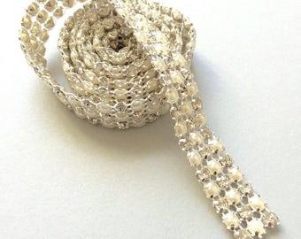 Rhinestone Trim- 1 yard 3 lines  pearl- rhinestones