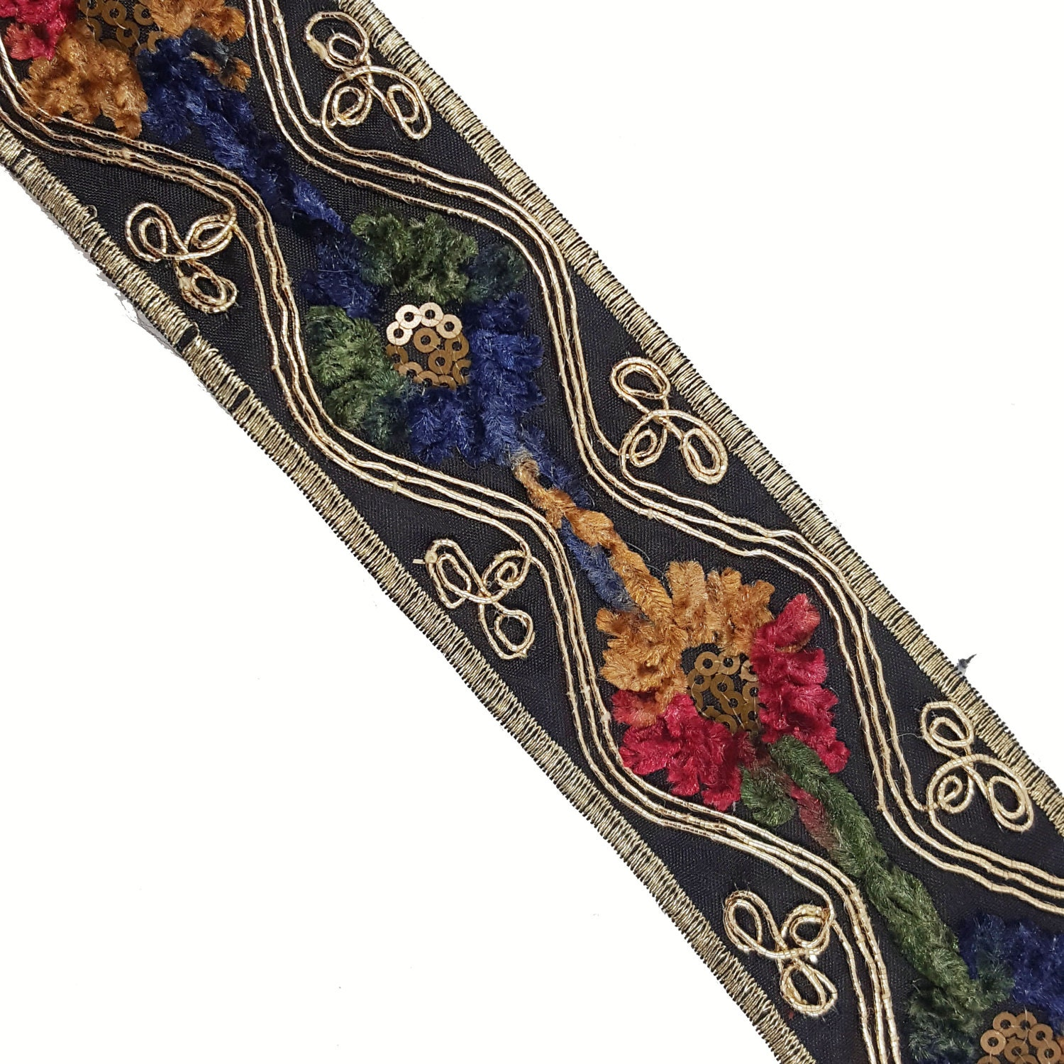 Embroidered ribbon trim aztec ethnic folklore by