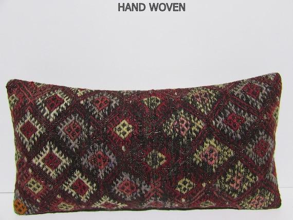 lumbar pillow kilim brown decorative pillow red throw pillow