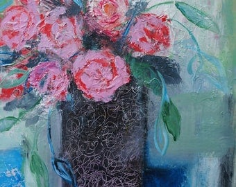 Roses in a vase acrylic painting