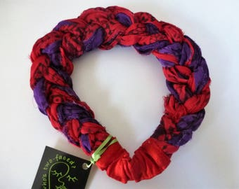 A Sari Silk Braided Headband in an eye-popping red and purple melange of soft silk chiffons - zowie!