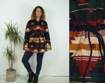 80's vintage women's colorful aztec geomteric patterned winter coat