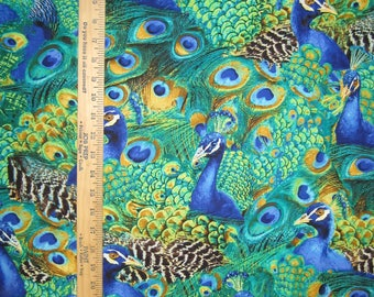 Peacock Pretty Cotton Fabric! 4 Options! [Choose Your Cut Size]