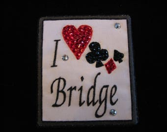 BRIDGE MAGNETIC PIN-Playing Card Swarovski Embellished-I Love Bridge-Card Games-Ladies Bridge-Bridge Lover Gift Brooch
