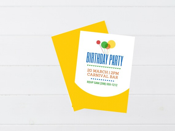 Birthday Party Invitation I Balloon Invitation I Primary Colors Invitation I Whimsy Invitation I Simple Birthday Invitation