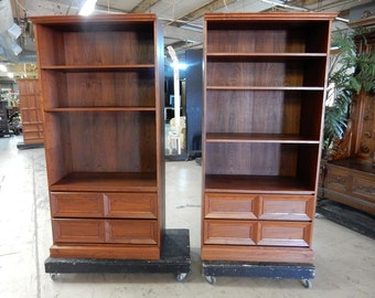 "Pair of Fine Teak Bookcases, Cabinets 76""H, Shipping Is Not Free!!!"
