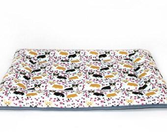 Corgi dog bed, CUSTOM fleece, crate pad, crate bed