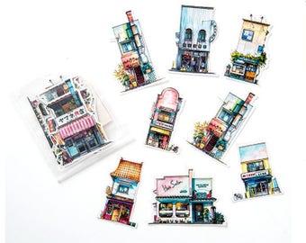 11 piece Japanese  Cute shop Pattern Sticker Lot Pack