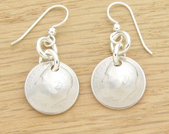 For 10th: 2007 US Dime Earrings 10th Anniversary or 10th Birthday Gift Coin Jewelry
