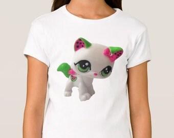 Girl's Custom Littlest Pet Shop Wateremelon Cat Fitted Babydoll T-Shirt