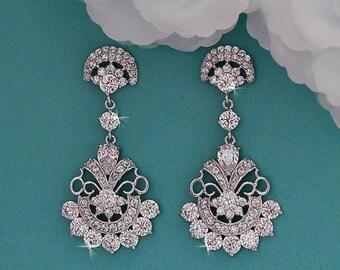 Cubic Zirconia Bridal Earrings CZ Crystal Dangle Chandelier Long Earrings Vintage Swarovski Bridal Wedding Jewelry Prom Earrings 055