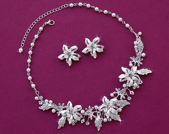 Bridal Necklace Earrings Set & Headpiece Wedding Matching Bride Jewelry Accessories Headband Hairpiece Party Hair Weddings Pageant Accessory
