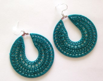 Beaded Earrings, Crochet Earrings, Hoop Earrings, Fiber Art Jewelry, Cotton Earrings, Fiber Accessories, Turquoise Earrings, Custom Earrings