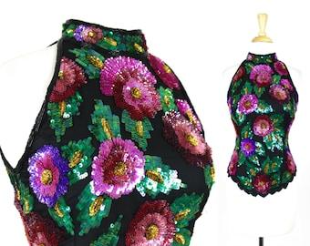 VTG Sequin Halter Top Floral Blouse Spring Vintage
