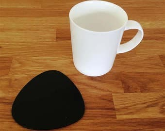 Pebble Shaped Black Gloss Finish Acrylic Coasters