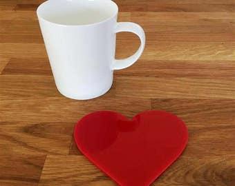 Heart Shaped Red Gloss Finish Acrylic Coasters