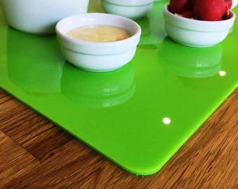 Rectangle Large Placemats / Serving Mat / Table Protector - Lime Green Gloss 3mm Acrylic