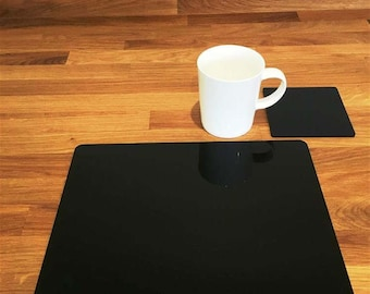 Rectangle Placemats or Placemats & Coasters - in Black Gloss Finish Acrylic 3mm
