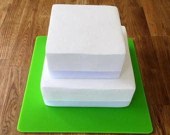 """Square Cake Board, Lime Green Gloss Finish 3mm Acrylic, Sizes  7"""", 9"""", 11"""", 13"""", 15"""" & 17"""""""