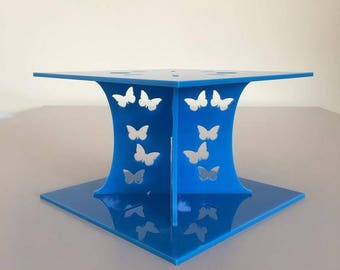 """Butterfly Square Bright Blue Gloss Acrylic Cake Pillars/Cake Separators, for Wedding/Party Cakes 10cm 4"""" High, Size 6"""" 7"""" 8"""" 9"""" 10"""" 11"""" 12"""""""