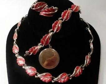 Vintage Mid Century Coro Red Enamel Necklace, Bracelet And Screw Back Earring Set