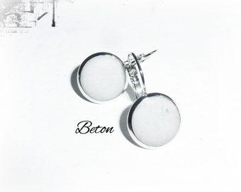 Earrings silver-coloured concrete