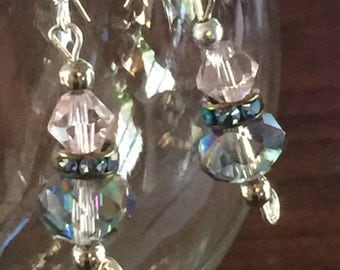 Clearance -Bridal Pink sterling silver Earrings Big sparkle